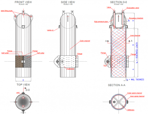 Views and Cross-sections of the Designed Concrete Suction Anchor